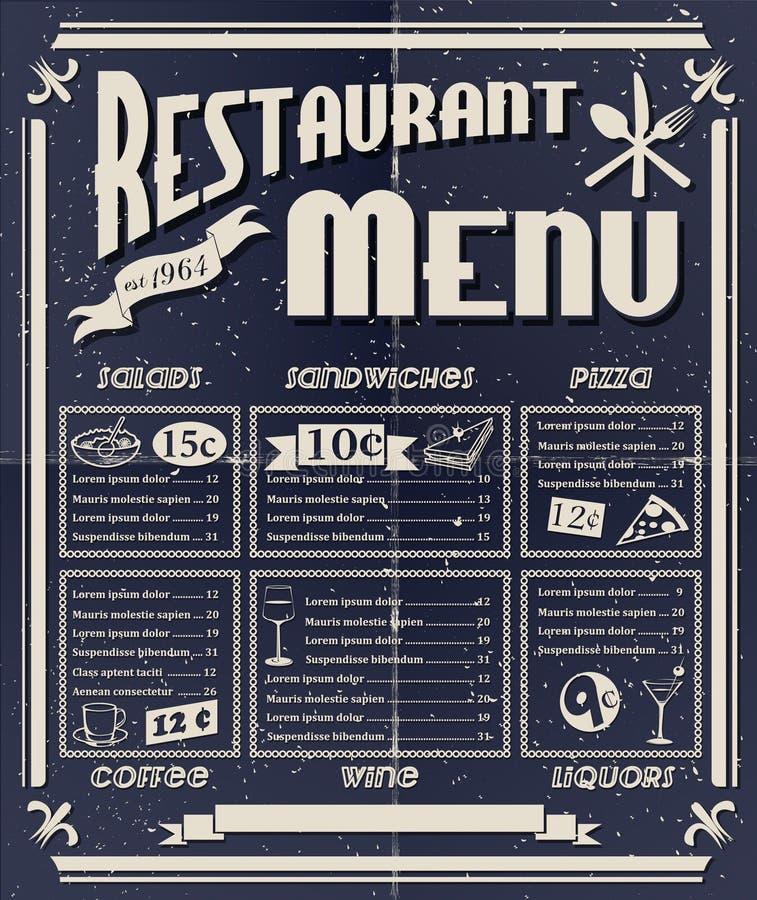 Винтажное меню ресторана иллюстрация штока