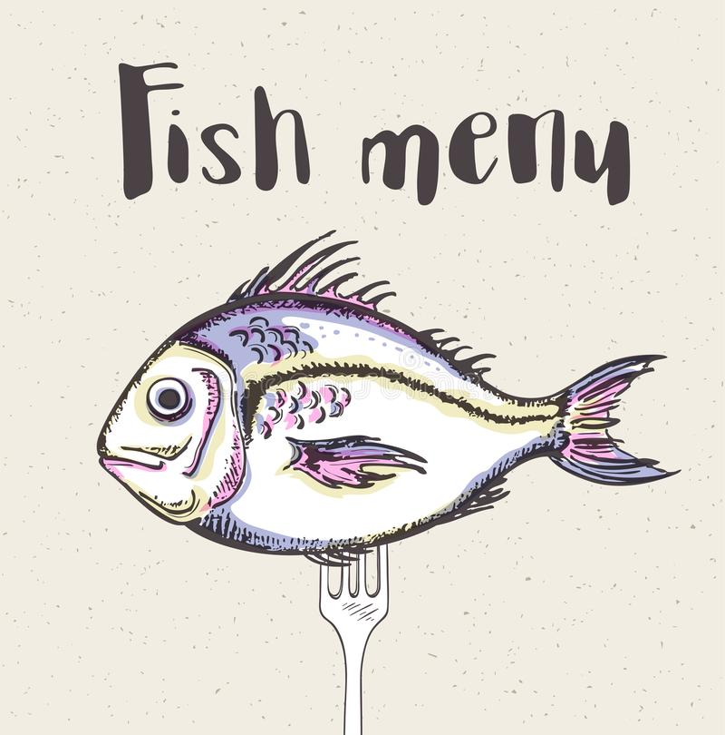 Винтажное меню с рыбами и вилкой бесплатная иллюстрация