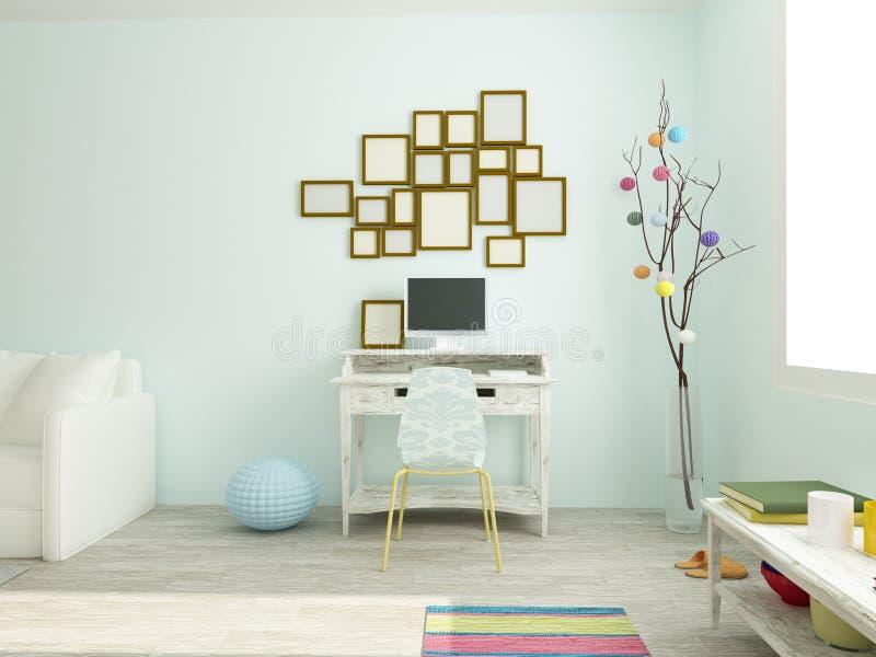 Винтажное место работы в современной гостиной в белых и голубых цветах иллюстрация штока