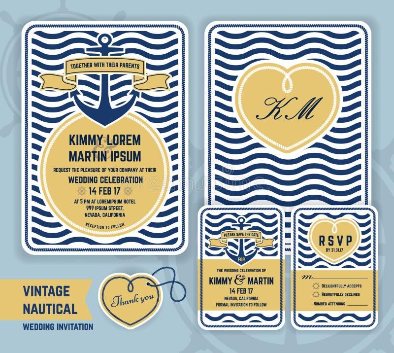 Винтажное морское приглашение свадьбы анкера бесплатная иллюстрация