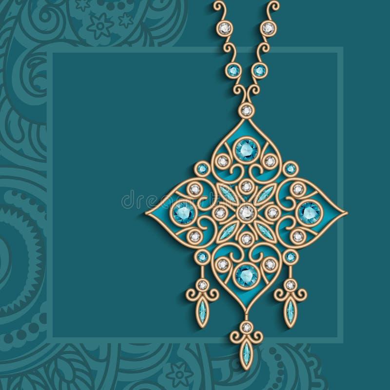 Винтажное ожерелье ювелирных изделий золота с драгоценными камнями иллюстрация вектора
