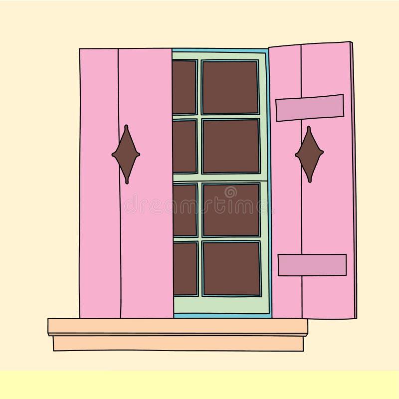 Винтажное окно вектор иллюстрация вектора