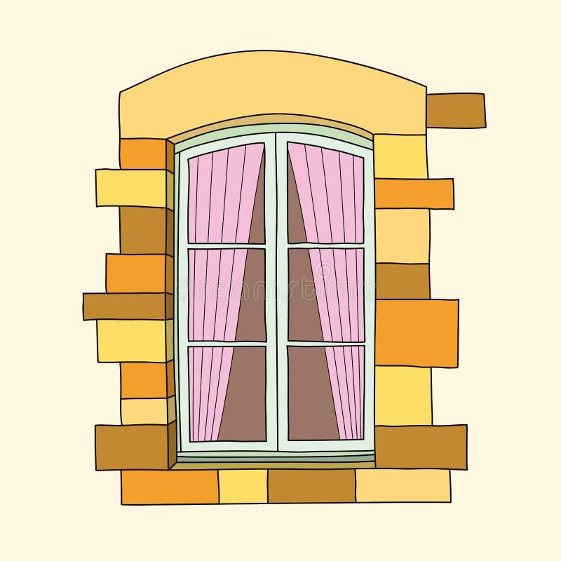 Винтажное окно на cream предпосылке бесплатная иллюстрация