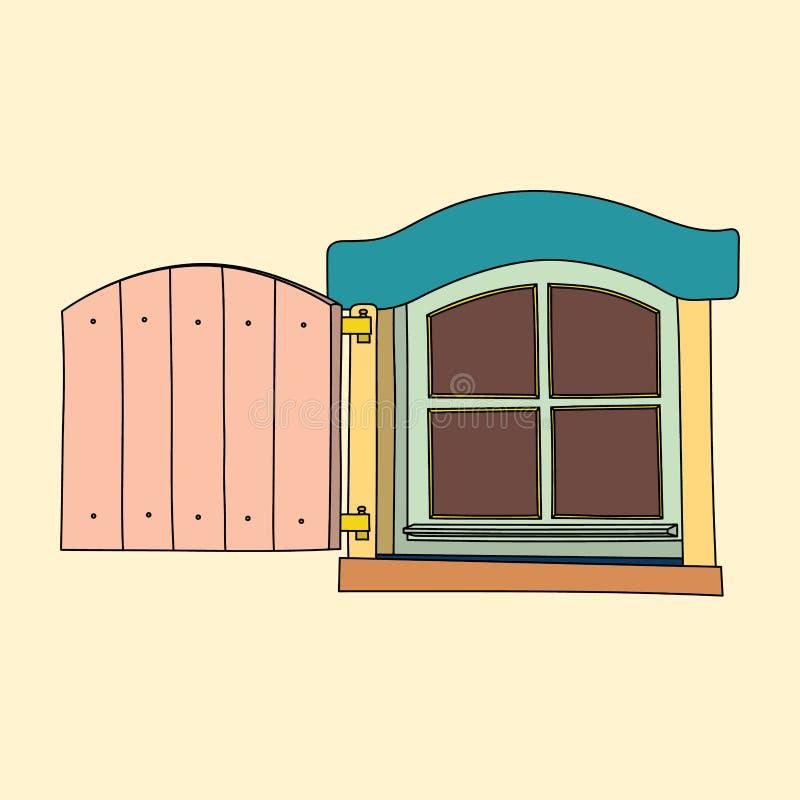 Винтажное окно на cream предпосылке иллюстрация вектора