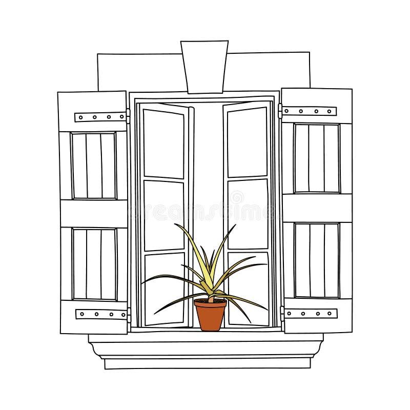 Винтажное окно с зацветая цветками в баке бесплатная иллюстрация