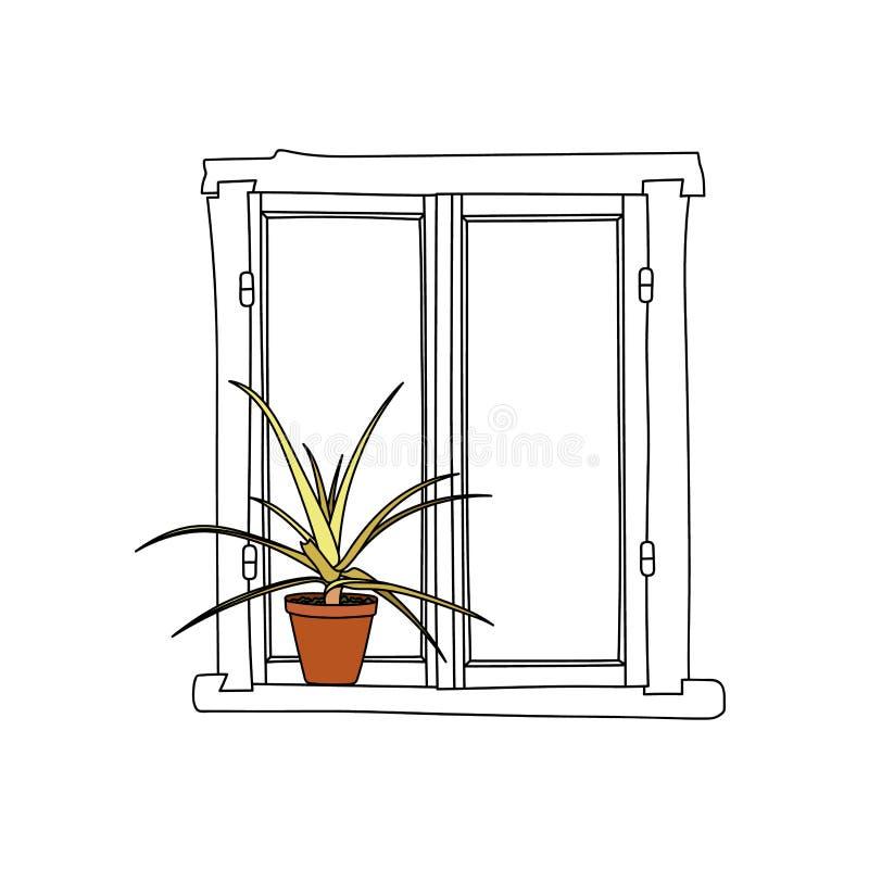 Винтажное окно с зацветая цветками в баке иллюстрация вектора