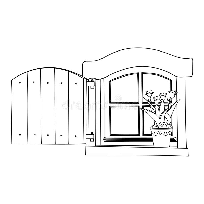 Винтажное окно с зацветая цветками в баке иллюстрация штока