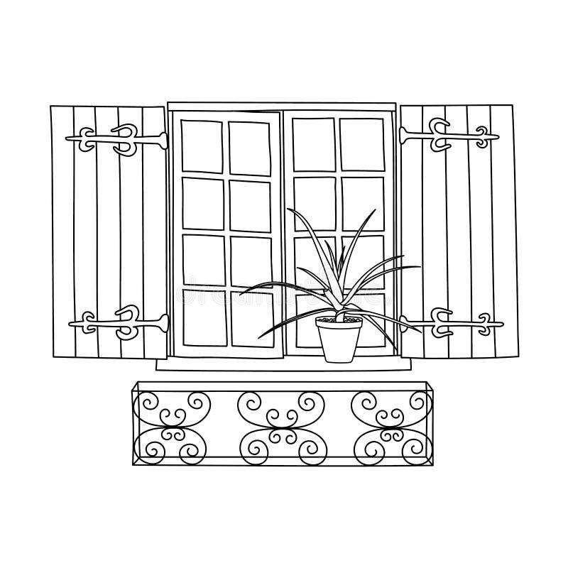Винтажное окно с зацветая цветками иллюстрация вектора