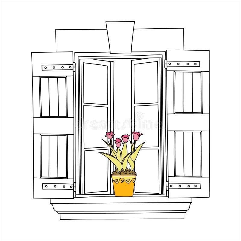 Винтажное окно с цветками бесплатная иллюстрация
