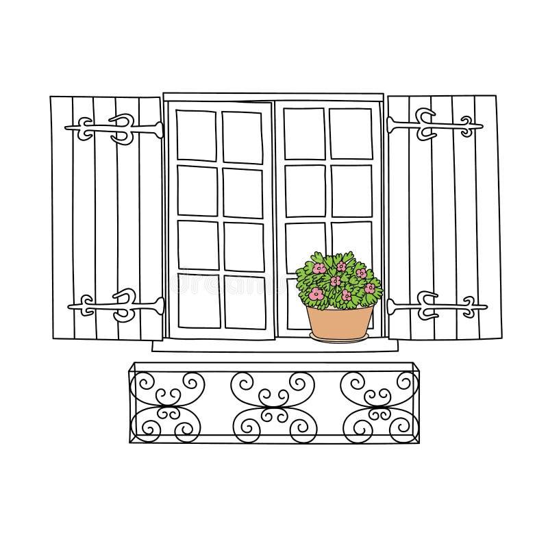 Винтажное окно с цветками иллюстрация вектора