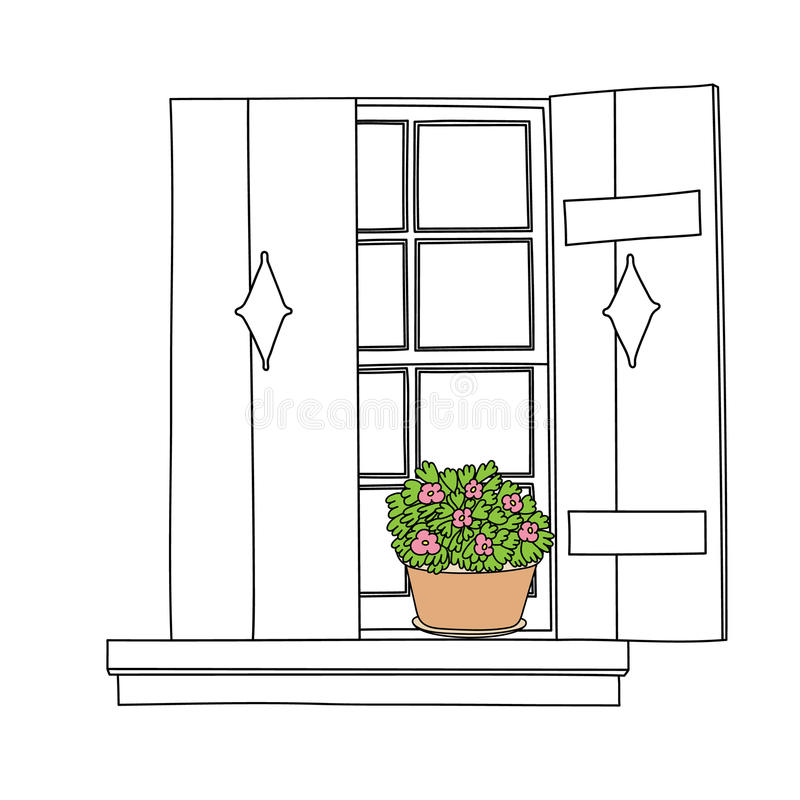 Винтажное окно с цветками иллюстрация штока
