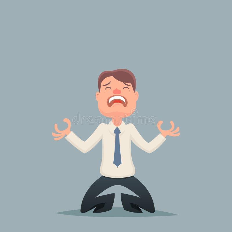 Винтажное отчаяние бизнесмена страдает характер печали бесплатная иллюстрация