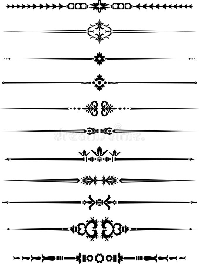 Винтажное оформление горизонтальной прямой иллюстрация вектора