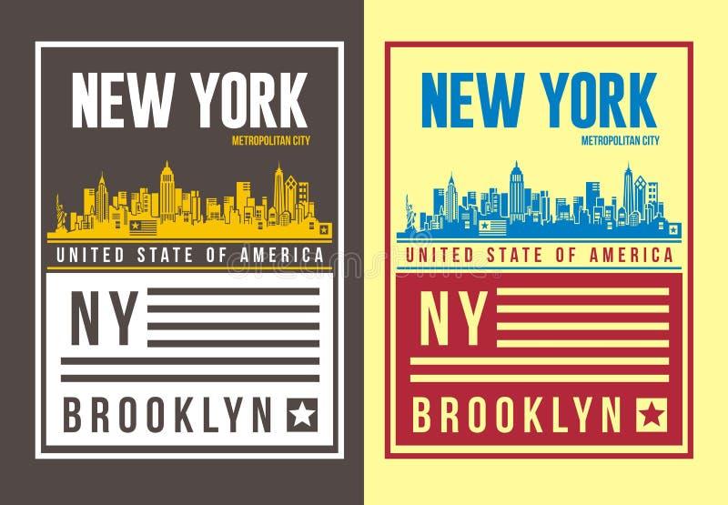 Винтажное оформление Нью-Йорка для футболки, эмблема, иллюстрация вектора
