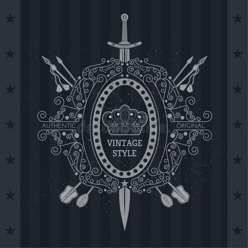 Винтажное побережье оружий с линией картиной Перекрестная стрелка и вертикальные шпаги через овальную рамку иллюстрация вектора