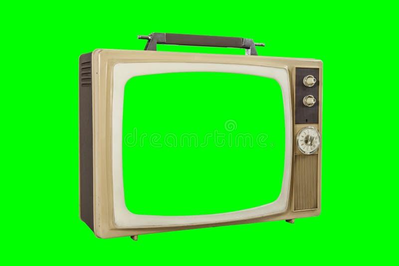 Винтажное портативное ТВ изолировало с экраном и предпосылкой Chroma зелеными стоковое фото rf