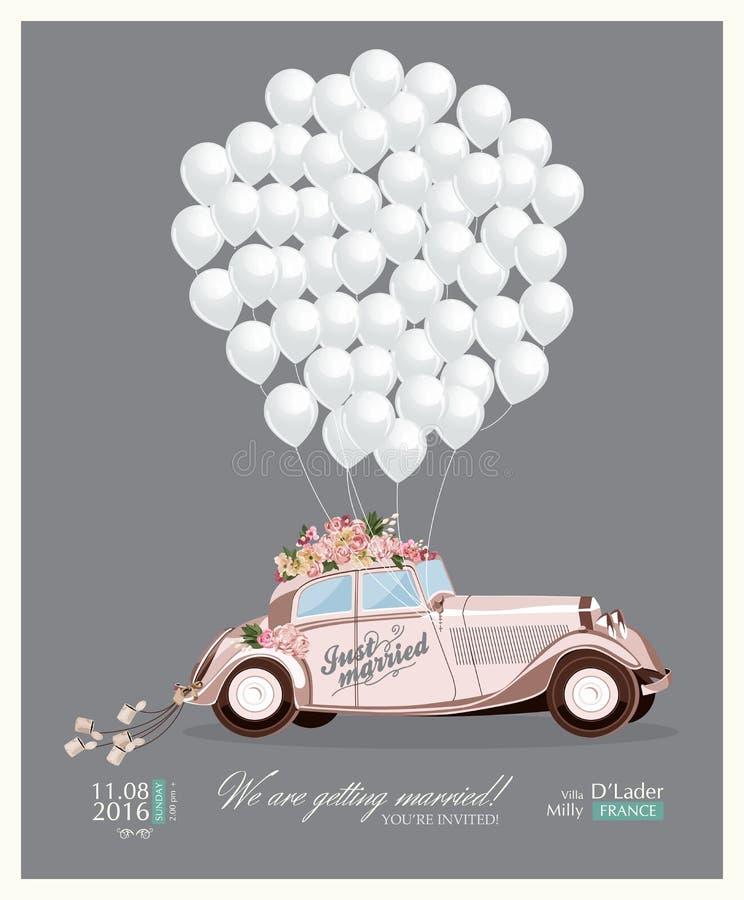 Винтажное приглашение свадьбы с как раз пожененным ретро автомобилем и белыми воздушными шарами иллюстрация штока