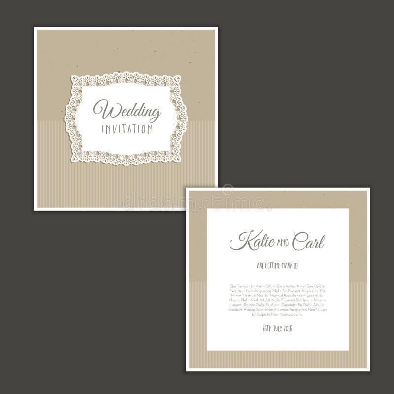 Винтажное приглашение свадьбы иллюстрация штока