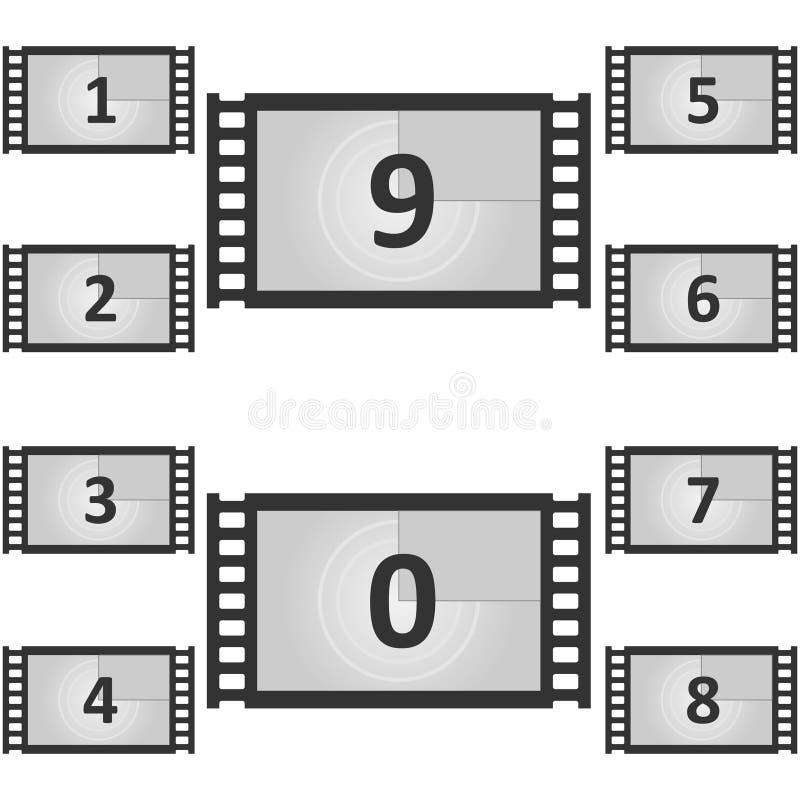Винтажное ретро кино Творческая иллюстрация вектора рамки комплекса предпусковых операций Старый отсчет таймера кино фильма иллюстрация вектора