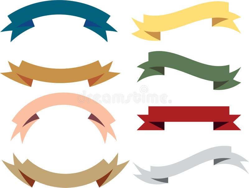 Винтажное ретро собрание вектора ленты знамени иллюстрация вектора