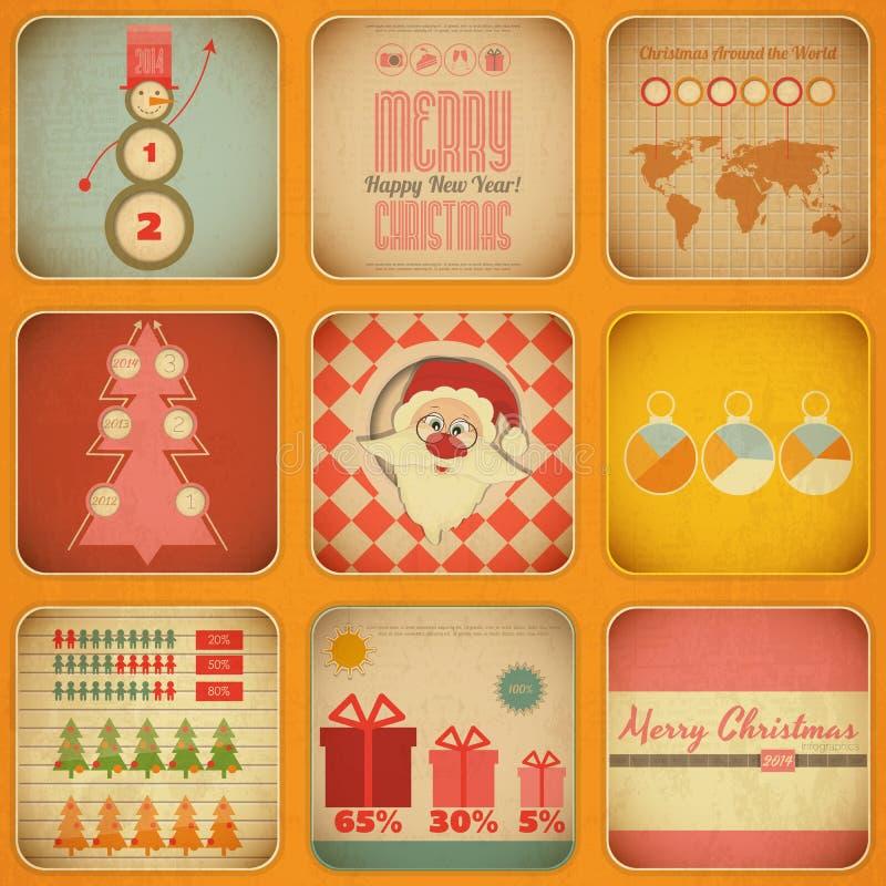 Винтажное рождество Infographic с Санта Клаусом иллюстрация вектора