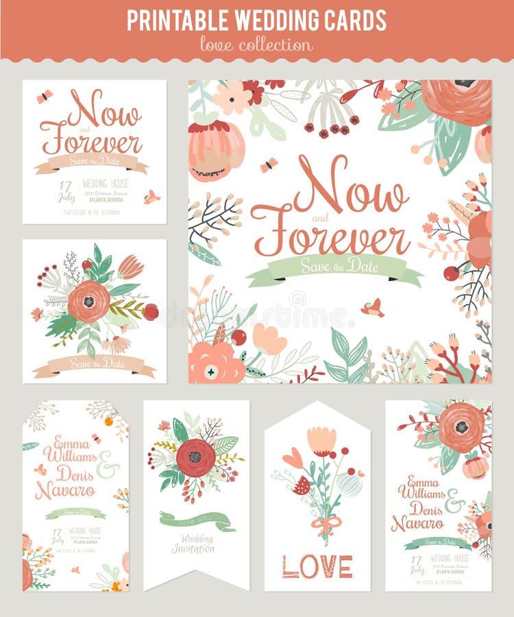 Винтажное романтичное флористическое спасение приглашение даты иллюстрация штока
