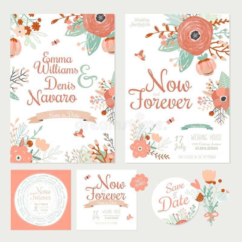 Винтажное романтичное флористическое спасение приглашение даты бесплатная иллюстрация