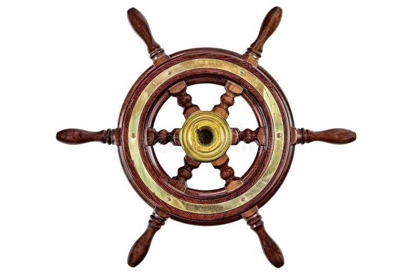 Винтажное рулевое колесо корабля изолированное на белизне стоковые фото