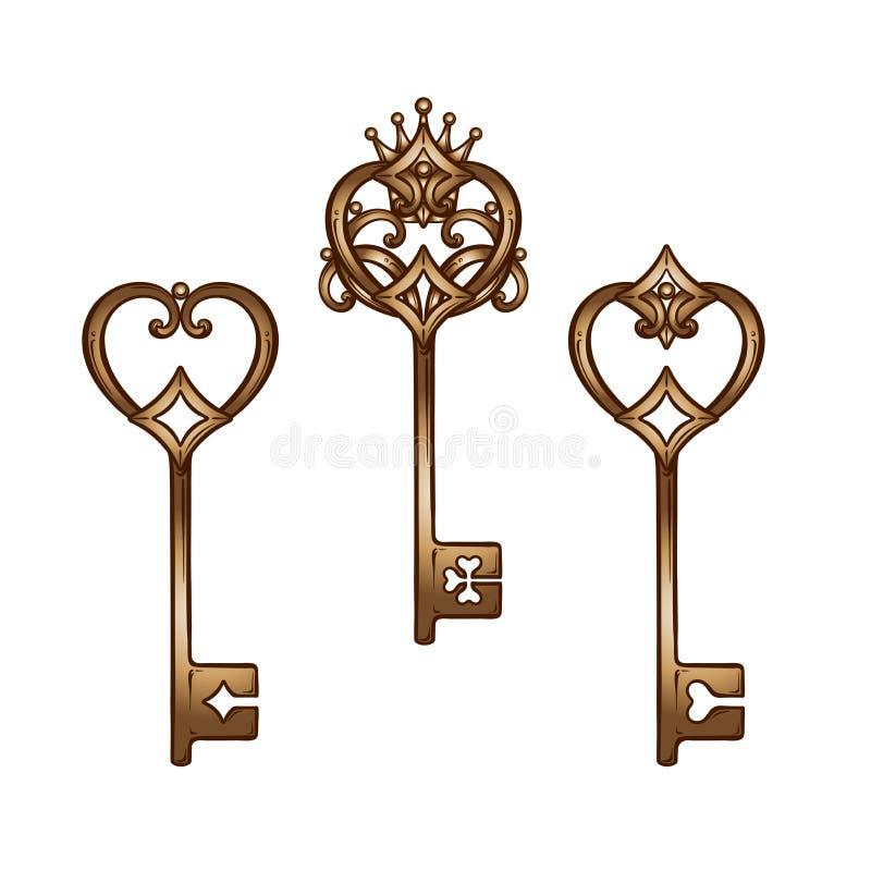 Винтажное сердце сформировало бронзовые античные установленные отмычки Нарисованная рукой изолированная иллюстрация вектора бесплатная иллюстрация