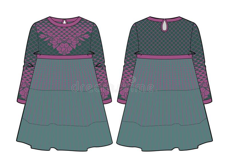 Винтажное смотря платье с швом на талии и flared юбке бесплатная иллюстрация