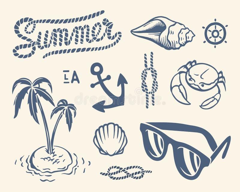 Винтажное собрание лета бесплатная иллюстрация