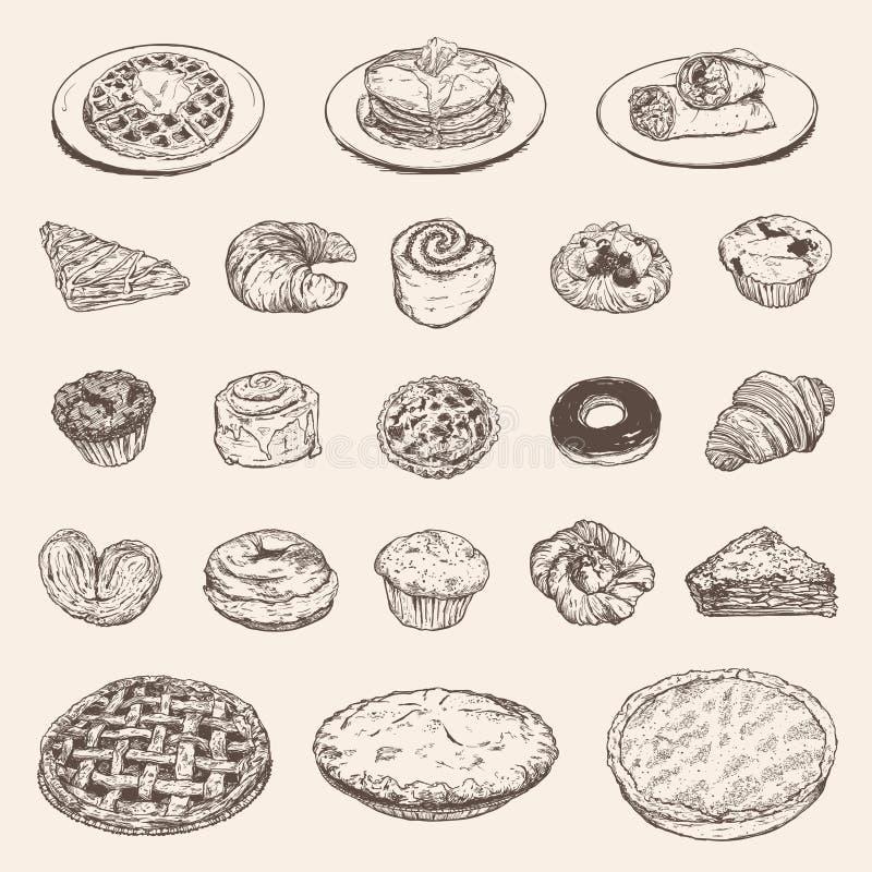Винтажное собрание завтрака для вашего дизайна ресторана бесплатная иллюстрация