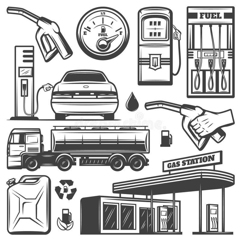 Винтажное собрание значков бензоколонки иллюстрация вектора