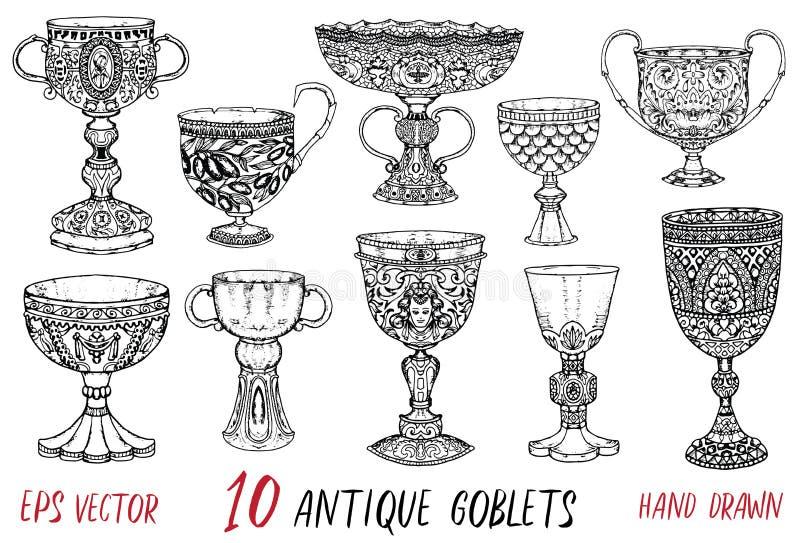 Винтажное собрание с 10 античными кубками бесплатная иллюстрация