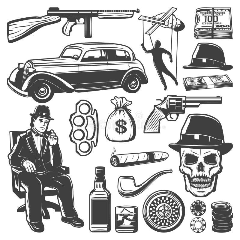 Винтажное собрание элементов гангстера бесплатная иллюстрация