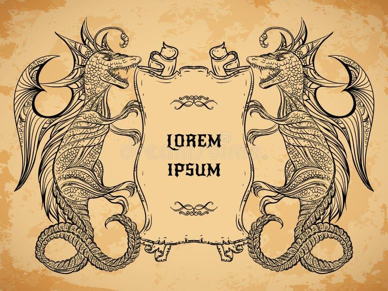 Винтажное средневековое знамя дракона и ленты на постаретой бумажной предпосылке иллюстрация штока