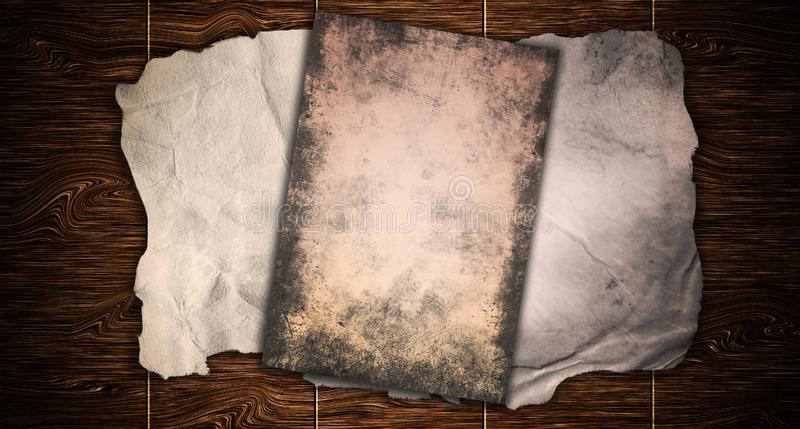 Винтажное старое grungy бумажное знамя над старой деревянной метафорой предпосылки текстуры для постаретый, ретро, деревянный, гр иллюстрация вектора
