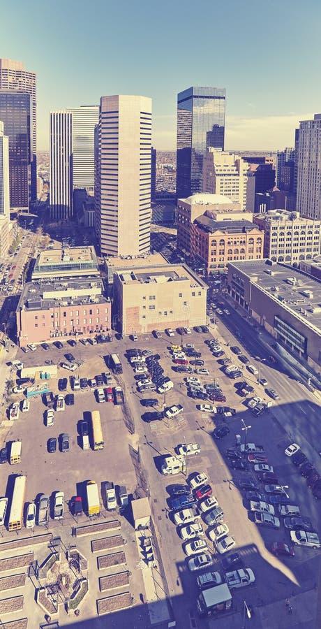 Винтажное стилизованное воздушное фото Денвера городское, Колорадо, США стоковое изображение rf