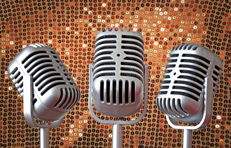 Винтажное трио mic стиля Арт Деко стоковая фотография