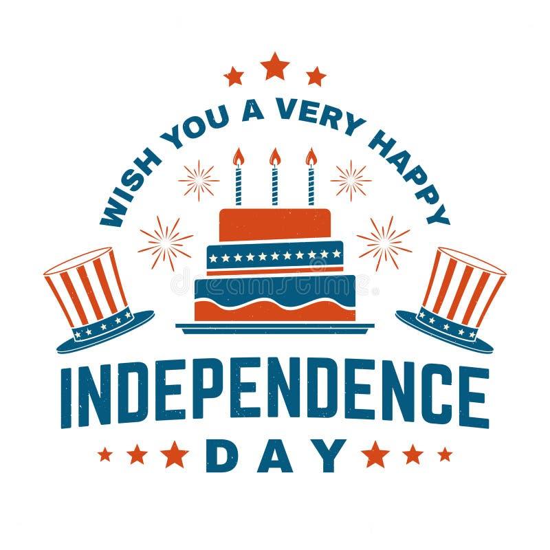 Винтажное 4-ый из дизайна в июле в ретро стиле Поздравительная открытка Дня независимости Патриотическое знамя для шаблона вебсай иллюстрация штока