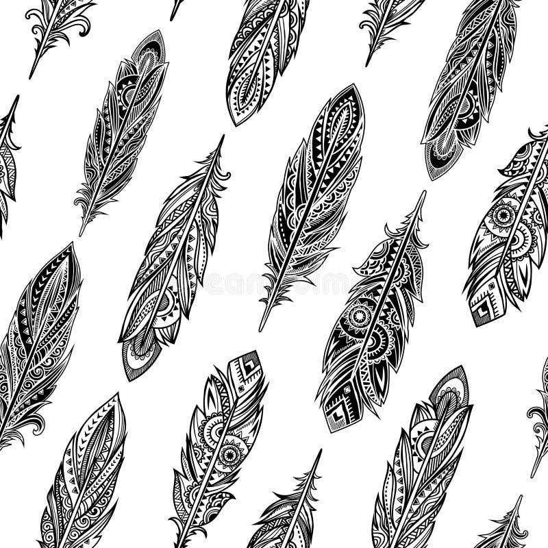 Винтажное этническое племенное перо безшовное Богемский стиль бесплатная иллюстрация