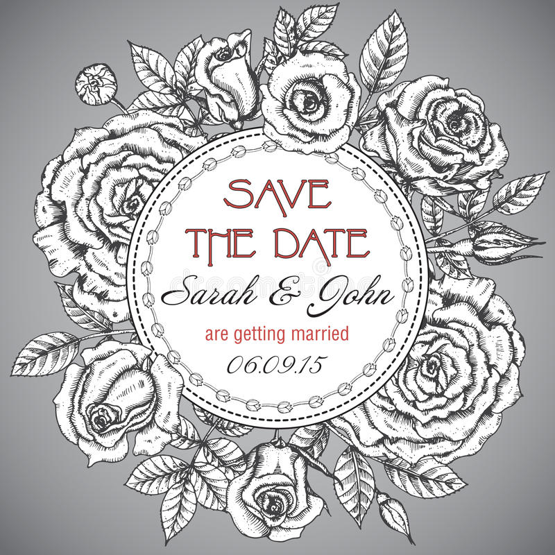 Винтажное элегантное приглашение свадьбы с графическими розами иллюстрация штока