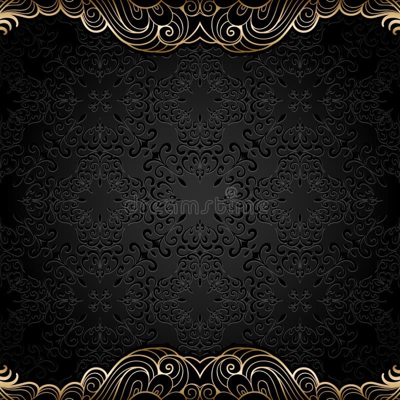 Винтажное backgjround с границами золота иллюстрация штока