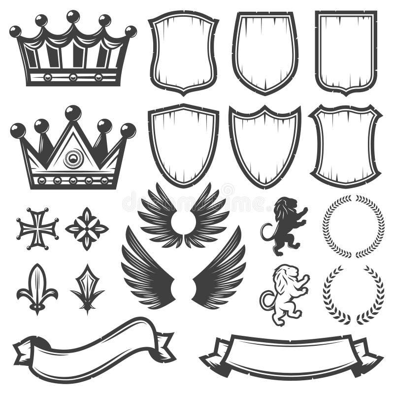 Винтажное Monochrome Heraldic собрание элементов иллюстрация штока