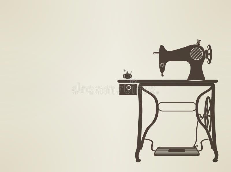 Винтажное sillhouette швейной машины иллюстрация штока