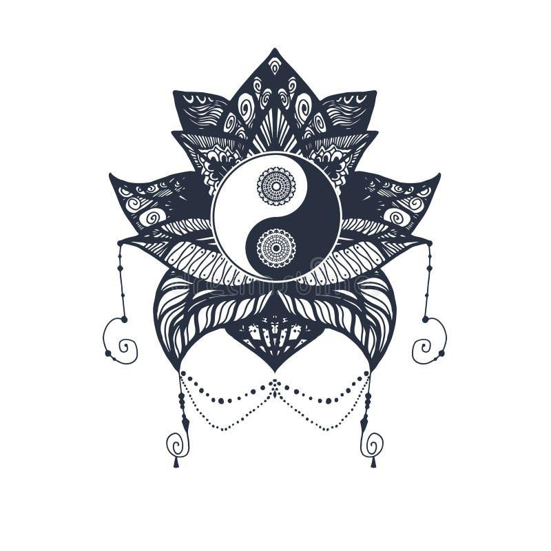 Винтажное Yin и Yang в лотосе иллюстрация вектора