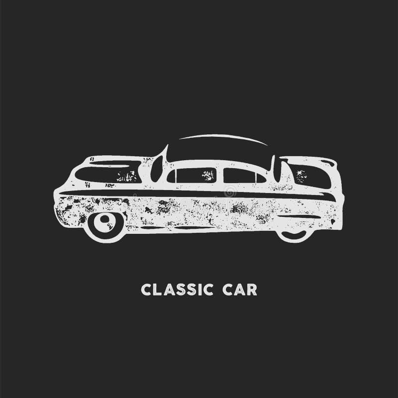Винтажной автомобиль нарисованный рукой Ретро дизайн символа автомобиля Классическая эмблема автомобиля изолированная на белой пр иллюстрация штока