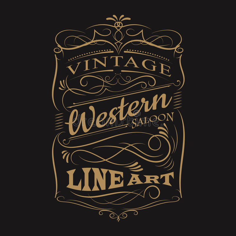 Винтажной дизайн футболки рамки оформления ярлыка западной нарисованный рукой иллюстрация штока