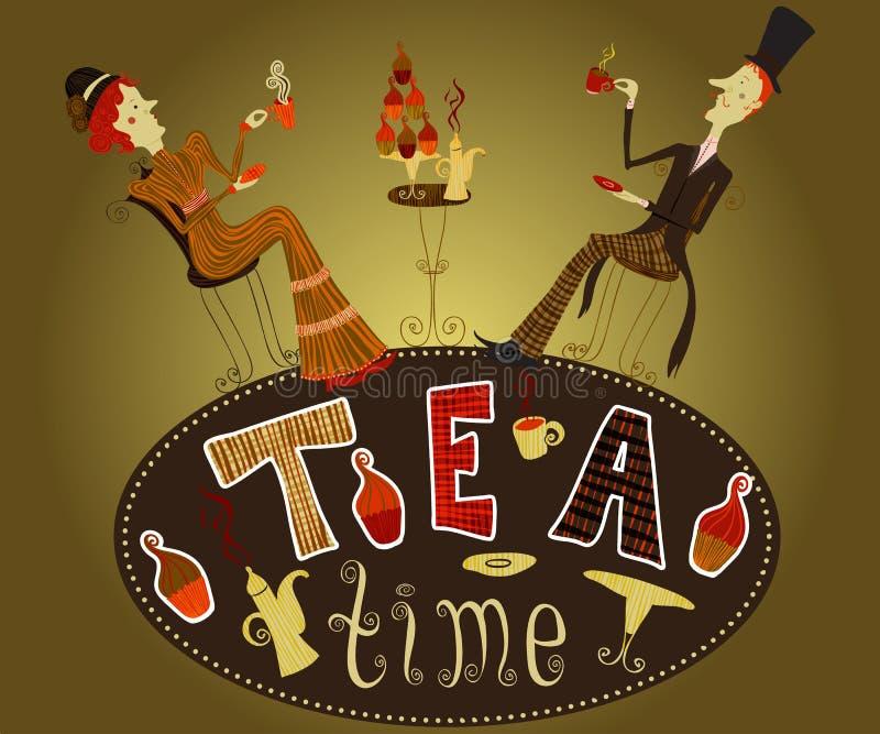 Винтажной и чай пить джентльмена нарисованные рукой дама шаржа чаепития плаката кафа иллюстрация вектора