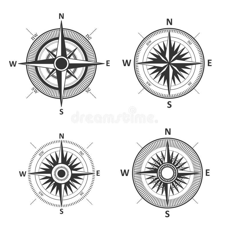 Винтажной иллюстрация вектора ветра изолированная розой иллюстрация штока